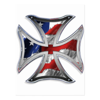 Cruz del hierro con la bandera americana tarjeta postal