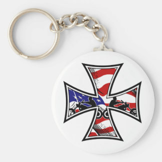 Cruz del hierro con la bandera americana y los mot llavero