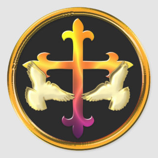 Cruz del hierro con las palomas en fondo negro pegatina redonda