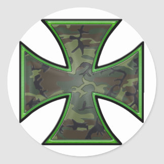 Cruz del hierro de Camo Pegatina Redonda
