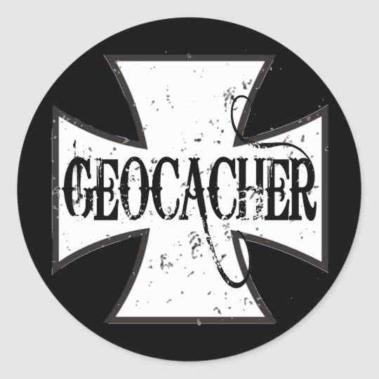 Cruz del hierro de Geocacher Pegatina Redonda
