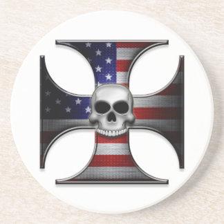 Cruz del hierro de la bandera americana con el crá posavasos manualidades