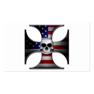 Cruz del hierro de la bandera americana con el tarjetas de visita