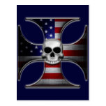 Cruz del hierro de la bandera americana con el postal