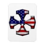 Cruz del hierro de la bandera americana imanes rectangulares