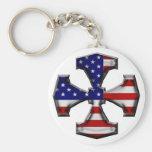 Cruz del hierro de la bandera americana llaveros