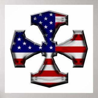 Cruz del hierro de la bandera americana poster