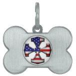 Cruz del hierro de la bandera americana placa de mascota
