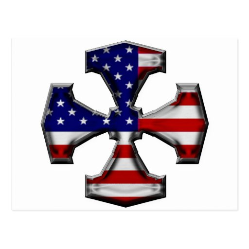 Cruz del hierro de la bandera americana postal