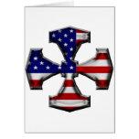 Cruz del hierro de la bandera americana tarjeta de felicitación