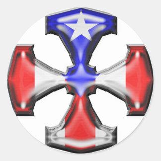 Cruz del hierro de la bandera de la banda pegatina redonda