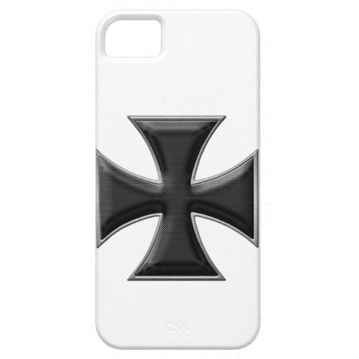 Cruz del hierro de la fibra de carbono - negro iPhone 5 cárcasa