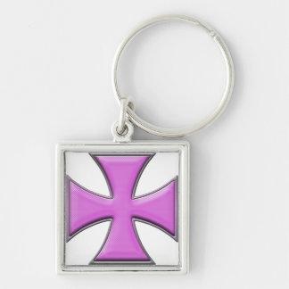Cruz del hierro de la fibra de carbono - rosa llavero personalizado