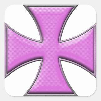 Cruz del hierro de la fibra de carbono - rosa pegatina cuadrada