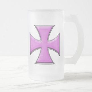 Cruz del hierro de la fibra de carbono - rosa taza de cristal