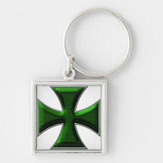 Cruz del hierro de la fibra de carbono - verde llavero