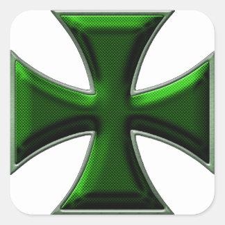 Cruz del hierro de la fibra de carbono - verde pegatina cuadrada