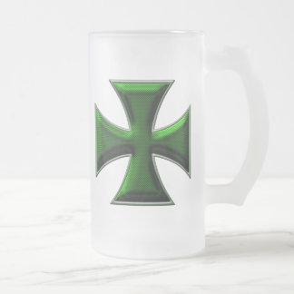 Cruz del hierro de la fibra de carbono - verde taza de cristal