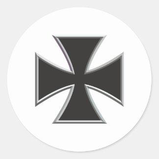 Cruz del hierro pegatina redonda