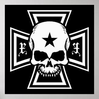 Cruz del hierro y poster del cráneo [negro]
