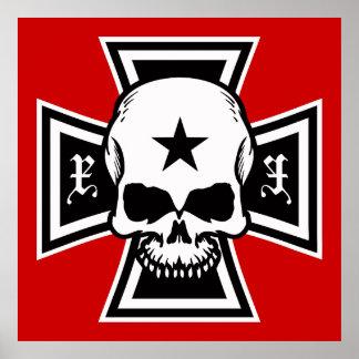 Cruz del hierro y poster del cráneo [rojo]