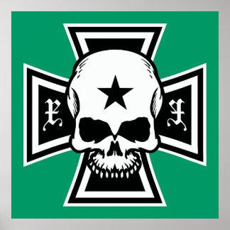 Cruz del hierro y poster del cráneo [verde]