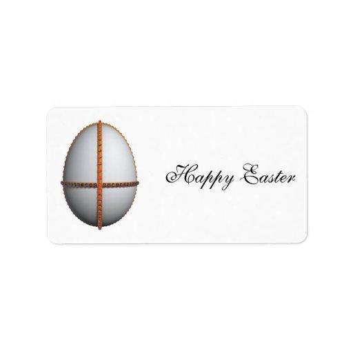 cruz del huevo de Pascua con oro y rubíes Etiquetas De Dirección