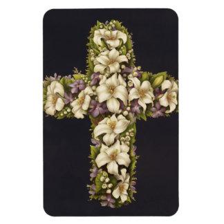 Cruz del lirio de pascua imán rectangular