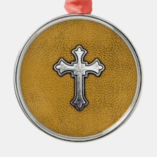 Cruz del metal en el cuero del oro adorno navideño redondo de metal