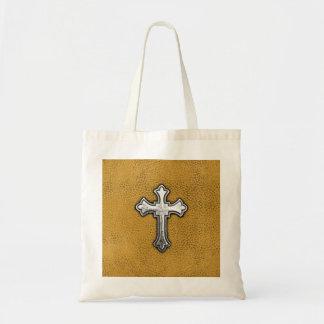 Cruz del metal en el cuero del oro bolsas