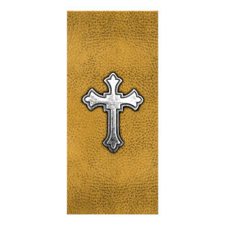Cruz del metal en el cuero del oro lonas personalizadas