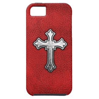 Cruz del metal en el cuero rojo funda para iPhone SE/5/5s