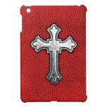 Cruz del metal en el cuero rojo iPad mini cárcasas