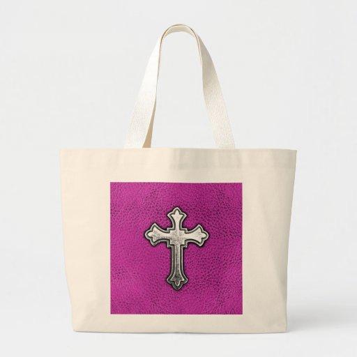 Cruz del metal en el cuero rosado bolsa tela grande