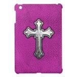 Cruz del metal en el cuero rosado iPad mini cárcasa