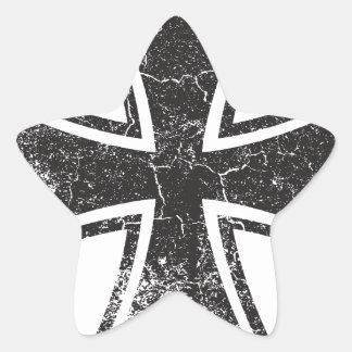 Cruz del motorista pegatina en forma de estrella