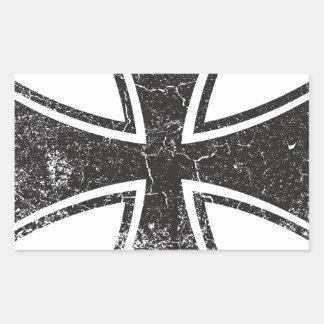 Cruz del motorista pegatina rectangular