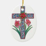 Cruz del navidad con los Amaryllises y el Poinsett Adorno De Reyes
