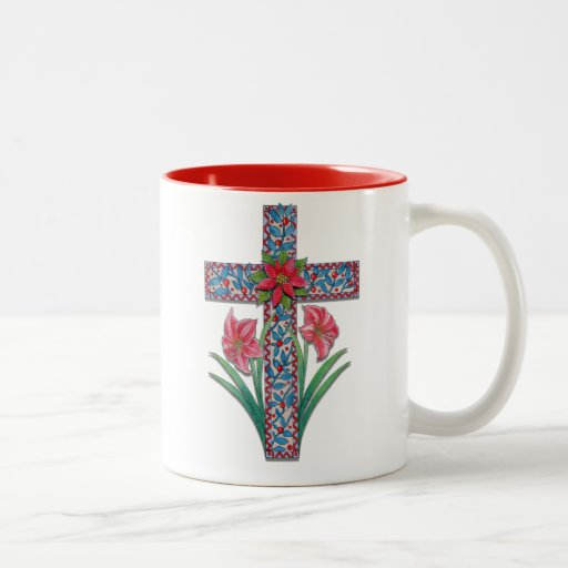 Cruz del navidad con los Amaryllises y el Poinsett Tazas De Café