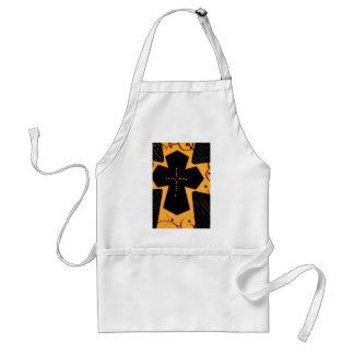 Cruz del negro del oro amarillo delantal