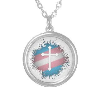 Cruz del orgullo del transexual collar plateado