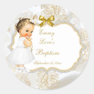 Cruz del oro del bautismo de la niña del vintage pegatina redonda