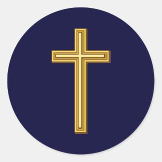 Cruz del oro en azul pegatina redonda