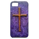 Cruz del oro en púrpura iPhone 5 cobertura