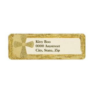Cruz del oro etiqueta de remite
