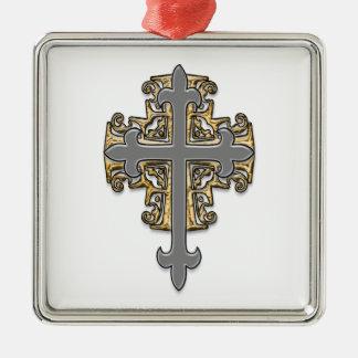 Cruz del oro y de la plata adorno navideño cuadrado de metal