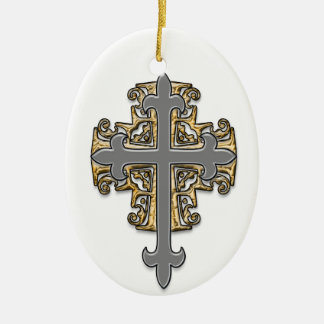 Cruz del oro y de la plata adorno navideño ovalado de cerámica