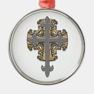 Cruz del oro y de la plata adorno navideño redondo de metal
