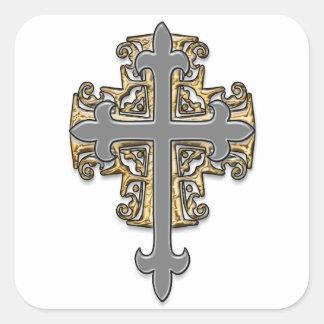 Cruz del oro y de la plata pegatina cuadradas personalizada