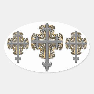Cruz del oro y de la plata pegatinas de óval